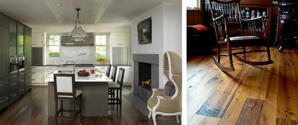 Left: bright white kitchen with dark hardwood flooring. Right: reclaimed antique hardwood flooring
