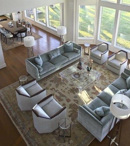 Rift and Quartersawn White Oak Flooring in Open Concept Living Room