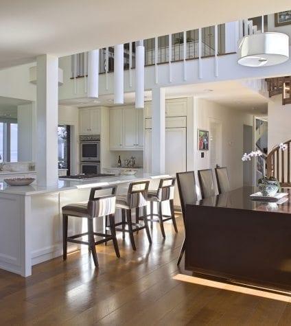 Rift and Quartersawn White Oak Flooring in Ocean-View Kitchen