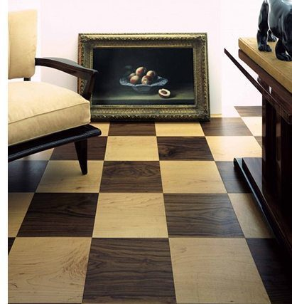 ight and dark hardwood flooring in a checkerboard pattern