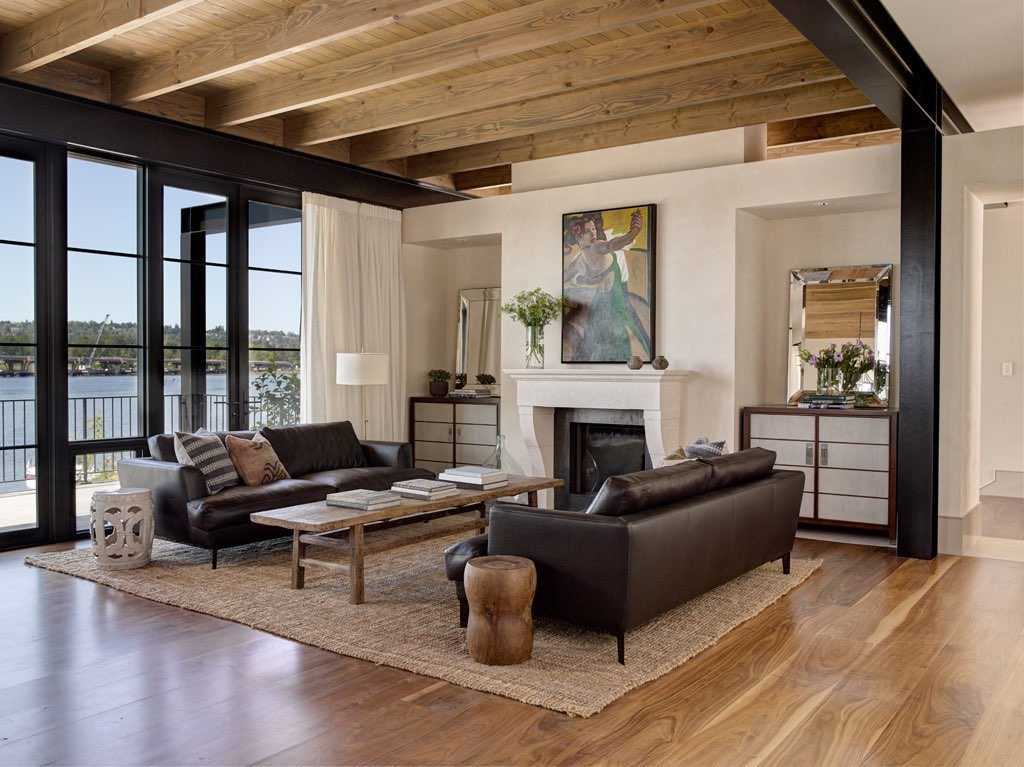 Walnut Flooring In A Transitional Living Room