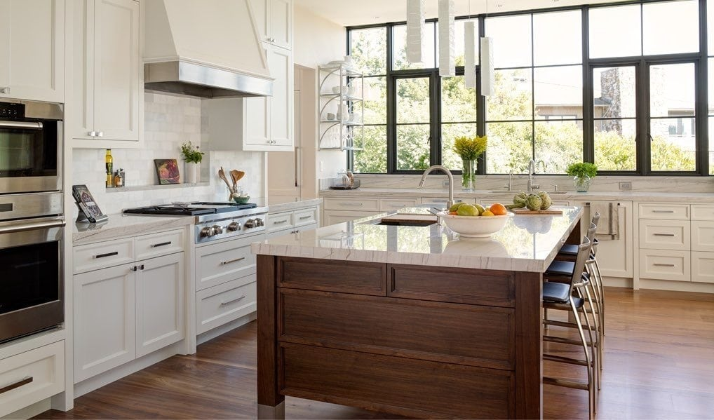 Carlisle Walnut Hardwood Flooring in a Transitional Kitchen