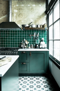 teal green and white kitchen