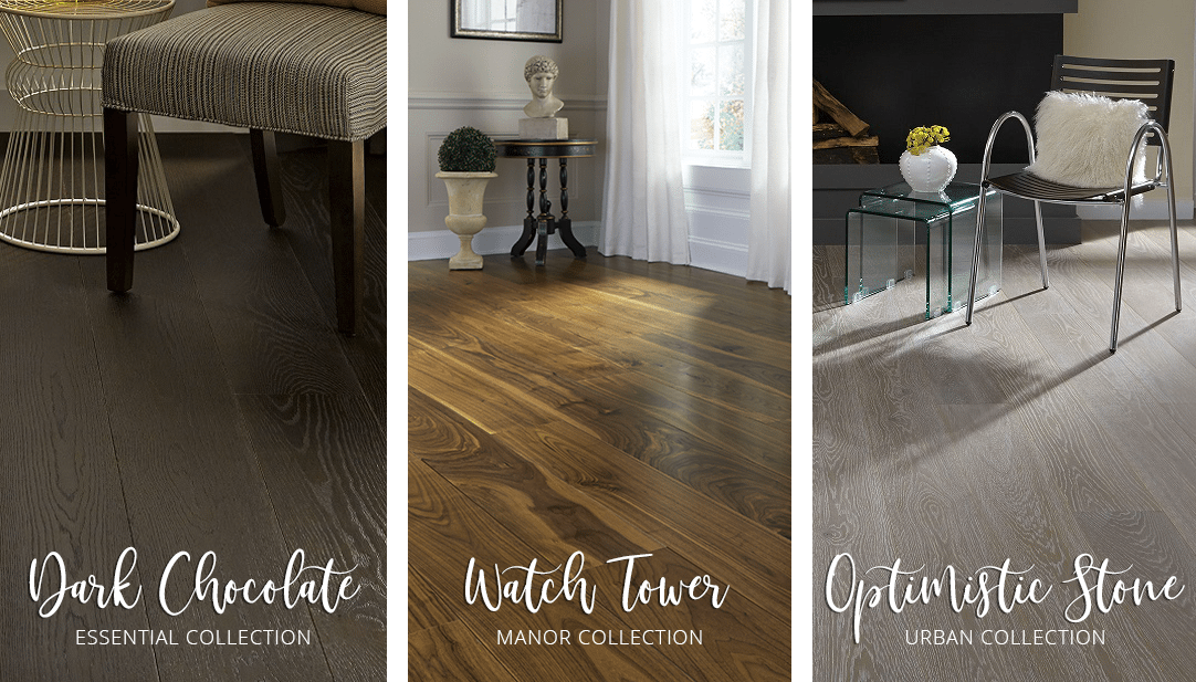 Carlisle hardwood floor montage: Dark Chocolate from the Essential Collection, Watch Tower from the Manor Collection, and Optimistic Stone from the Urban Collection