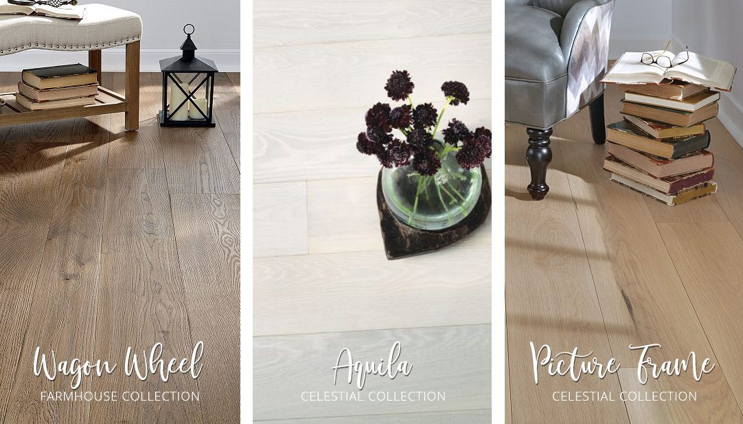 Carlisle hardwood floor montage: Wagon Wheel from the Farmhouse Collection, Aquila from the Celestial Collection, and Picture Frame from the Celestial Collection