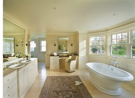 Modern Bathroom with Tub and Hardwood Floors