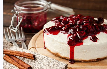 Holiday cheesecake with cherry topping