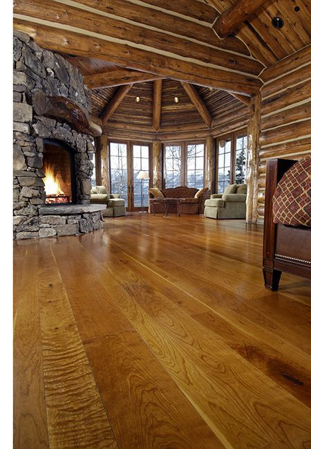 Cherry hardwood flooring in a Wyoming living room