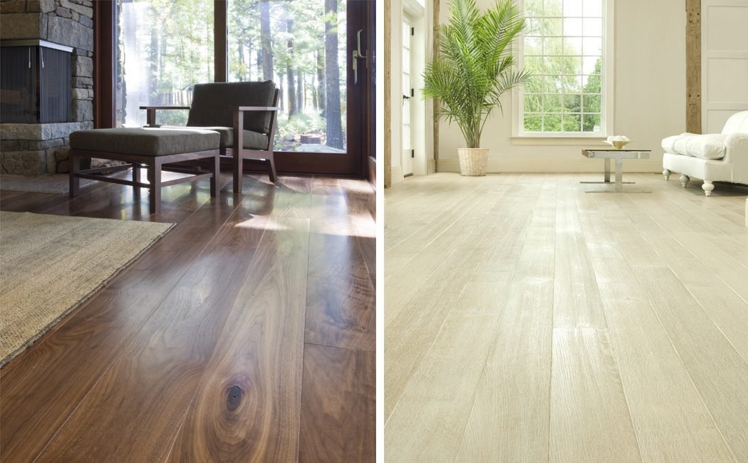 Prefinished walnut and white oak hardwood floors