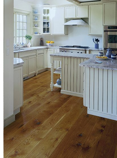 White kitchen with white oak floors
