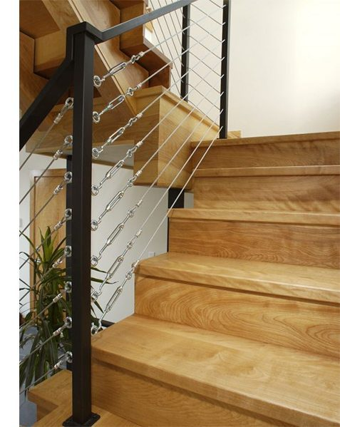Cables will make for a highly complementary, modern handrail.