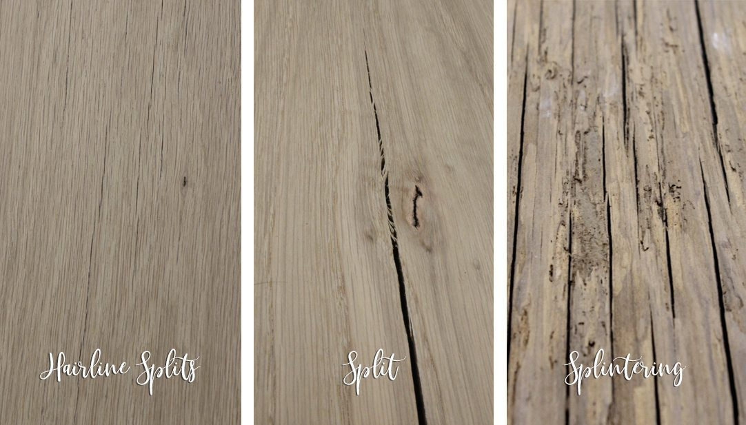 Examples of cracked and splintering wood