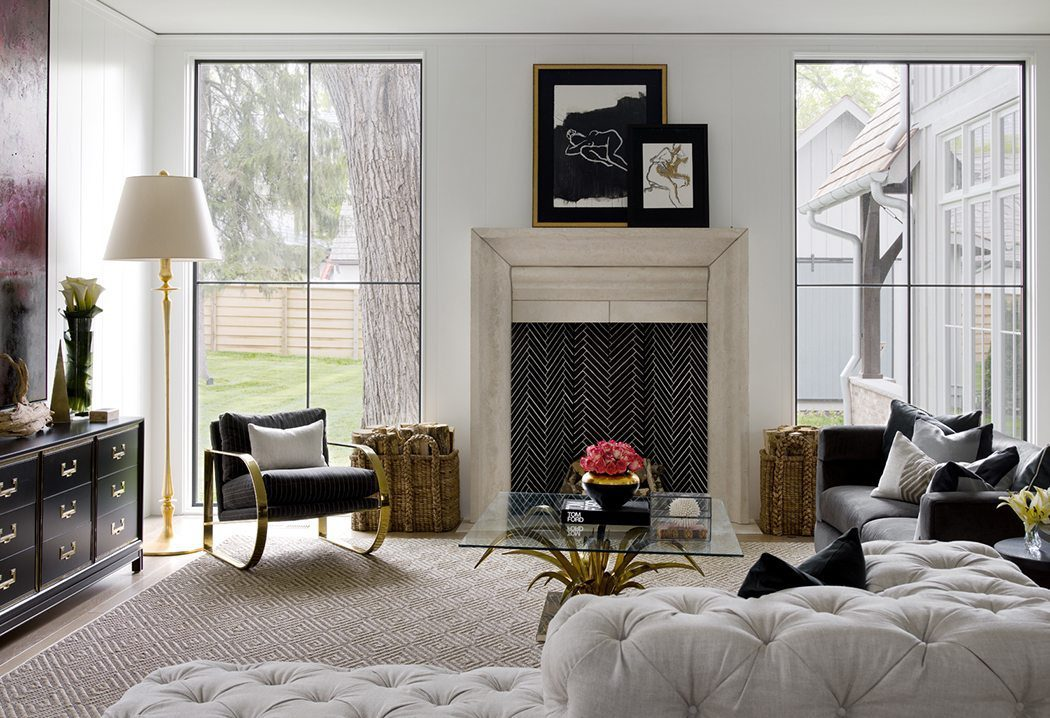 A timeless living room with modern gold touches