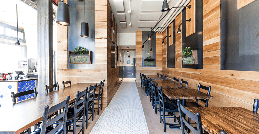 Interior restaurant with Carlisle hardwood, photo by Chris Brigham