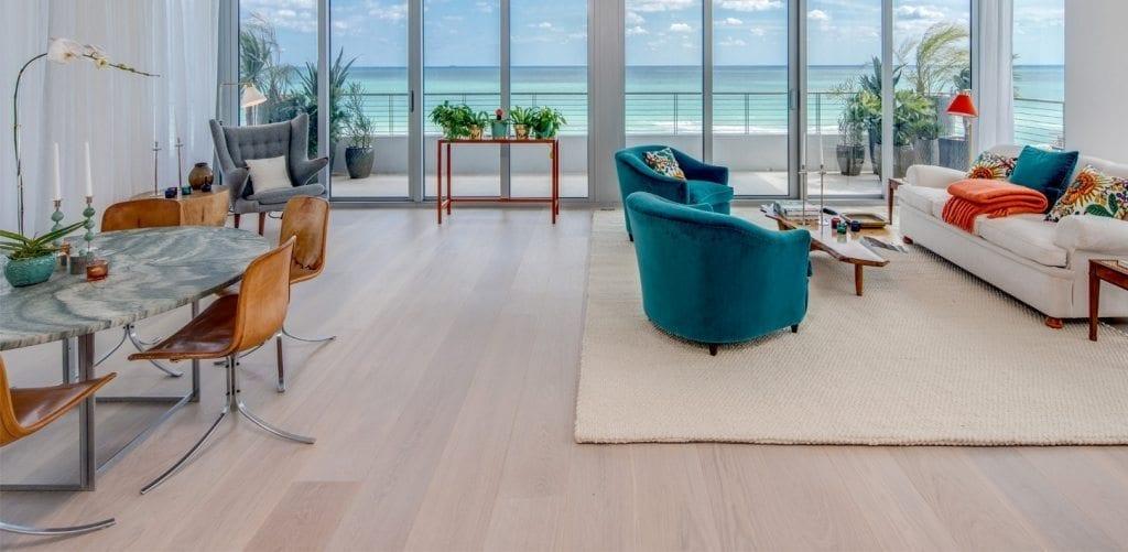 Carlisle White Oak Wide Plank Floors in Florida Living Room