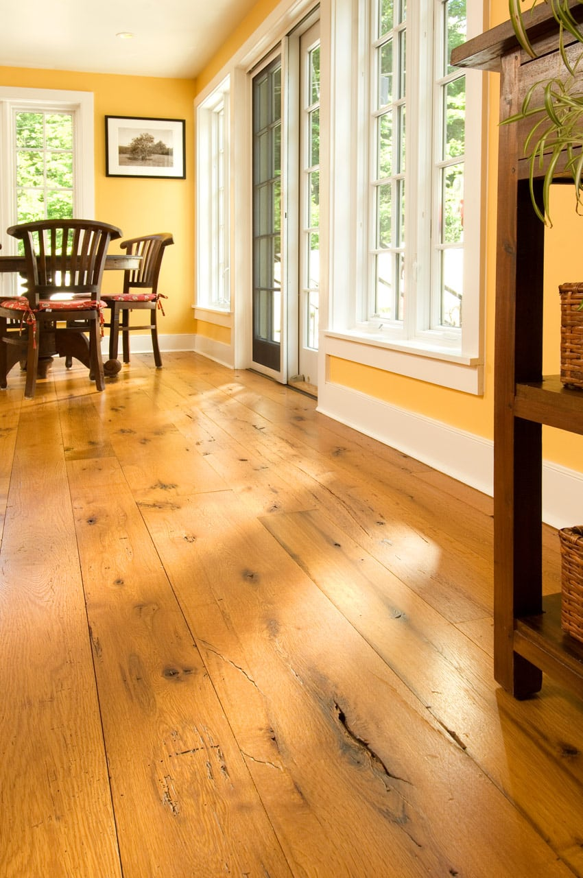 Reclaimed Oak Flooring Dining Room Carlisle Wide Plank