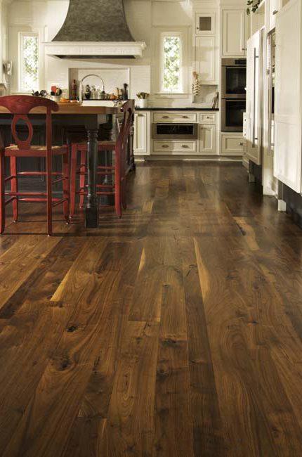unfinished walnut hardwood floors by Carlisle