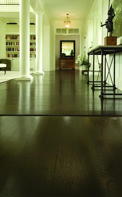 Rift & quartersawn white oak flooring from a dark stain from Carlisle