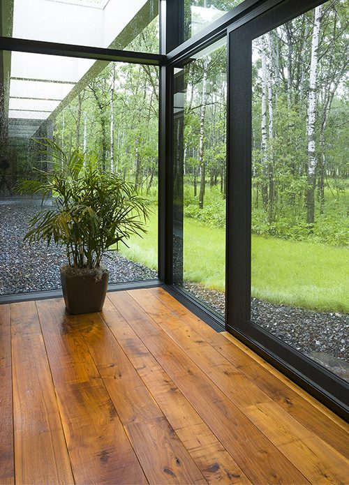 Glass walls natural distressed wood flooring