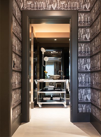 Belew Armour Powder and Vestibule room featuring custom Carlisle flooring