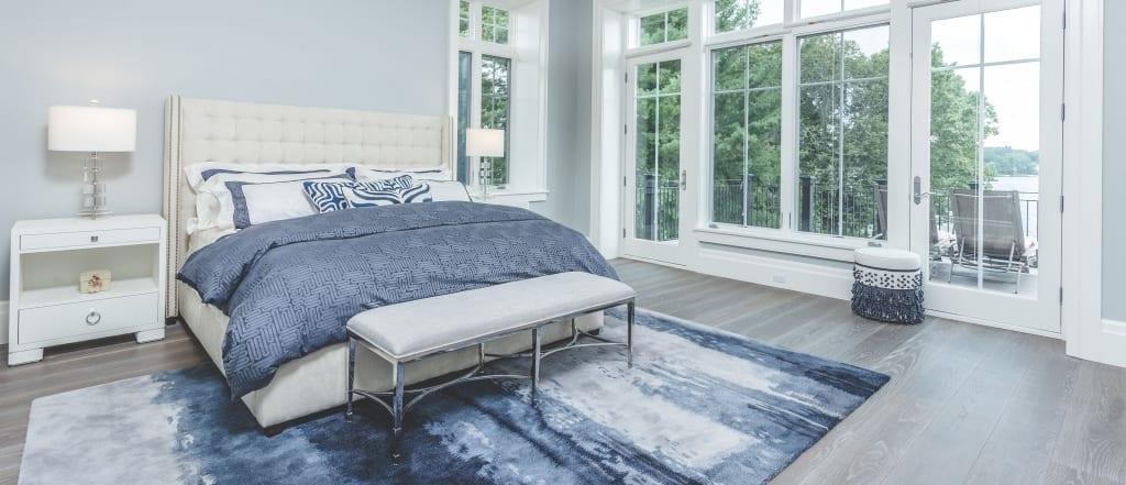 Carlisle Optimistic Stone Flooring in Blue Bedroom Lake view
