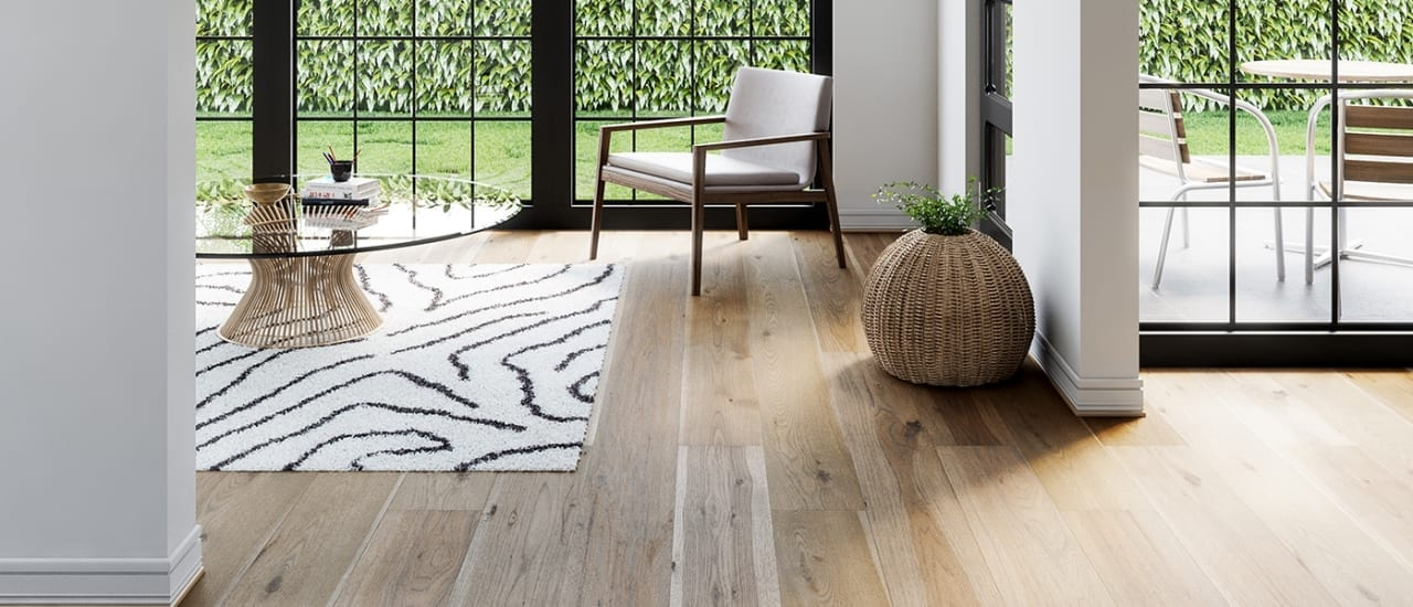 light color hardwood floor in large room