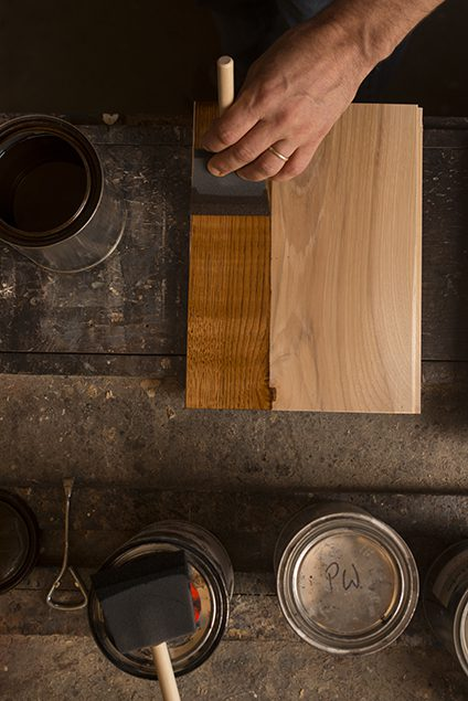 Hand Staining Hardwood with Brown Stain