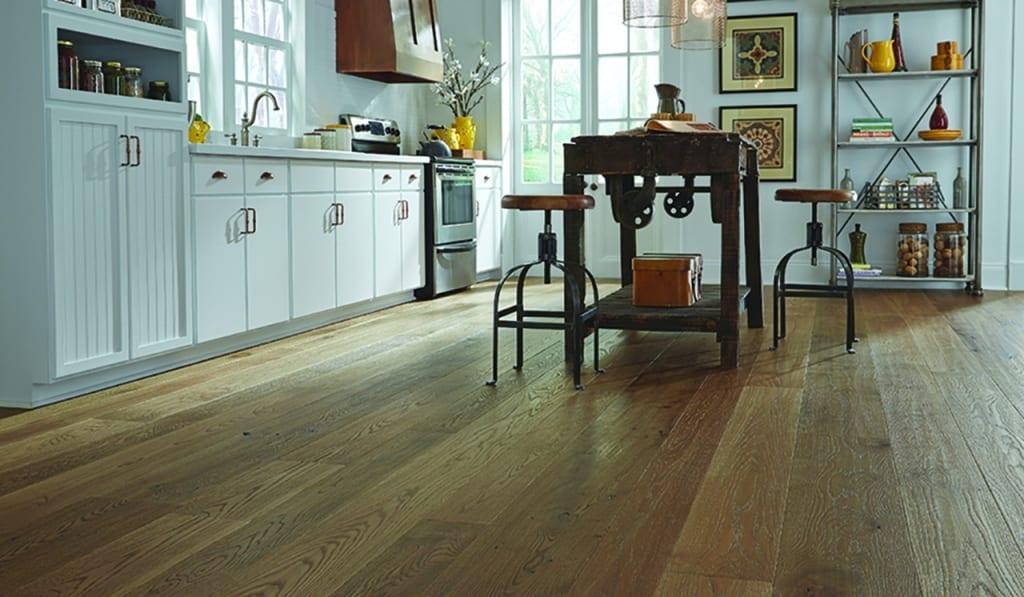 Timeworn Textured Floor in a Farmhouse Kitchen