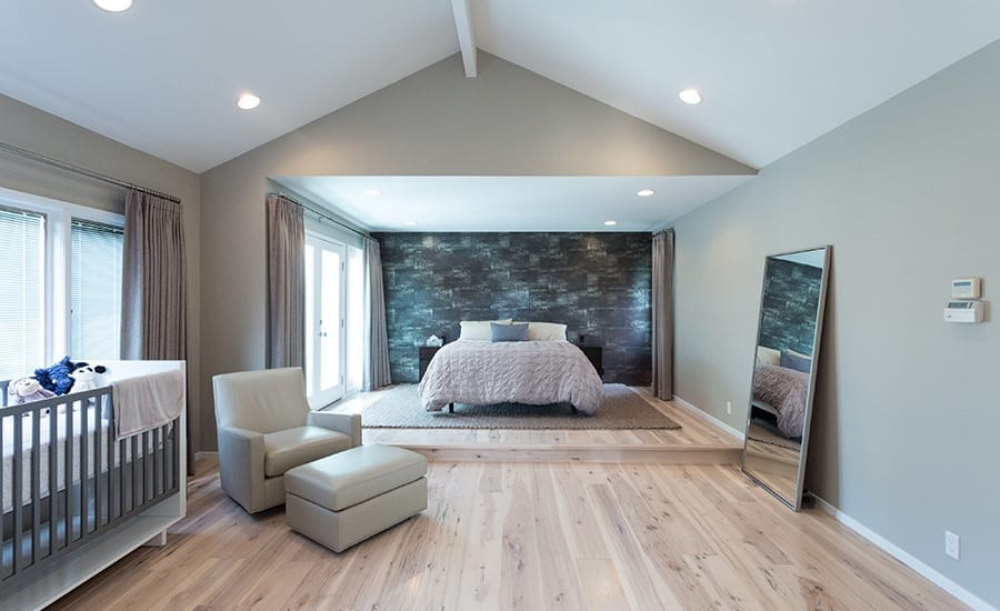 Contemporary Bedroom with Whitewashed Hickory Floors