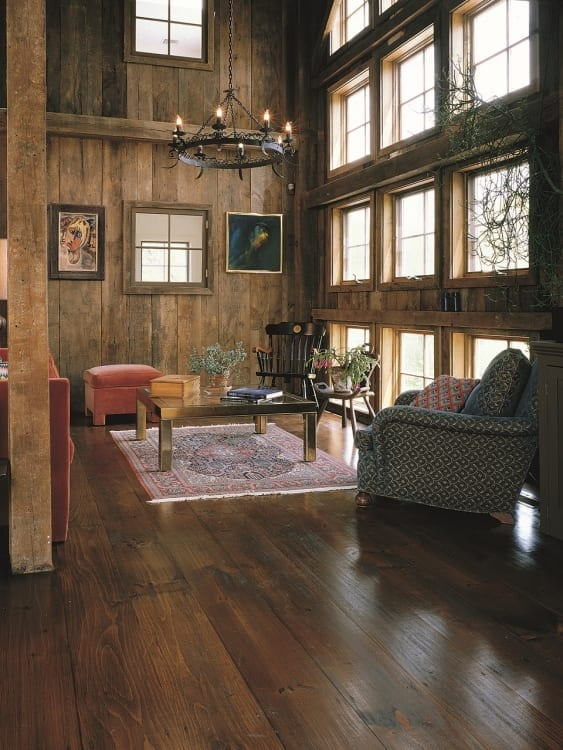 eastern white pine floor in living room