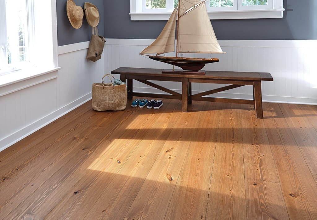 heart pine flooring in entry