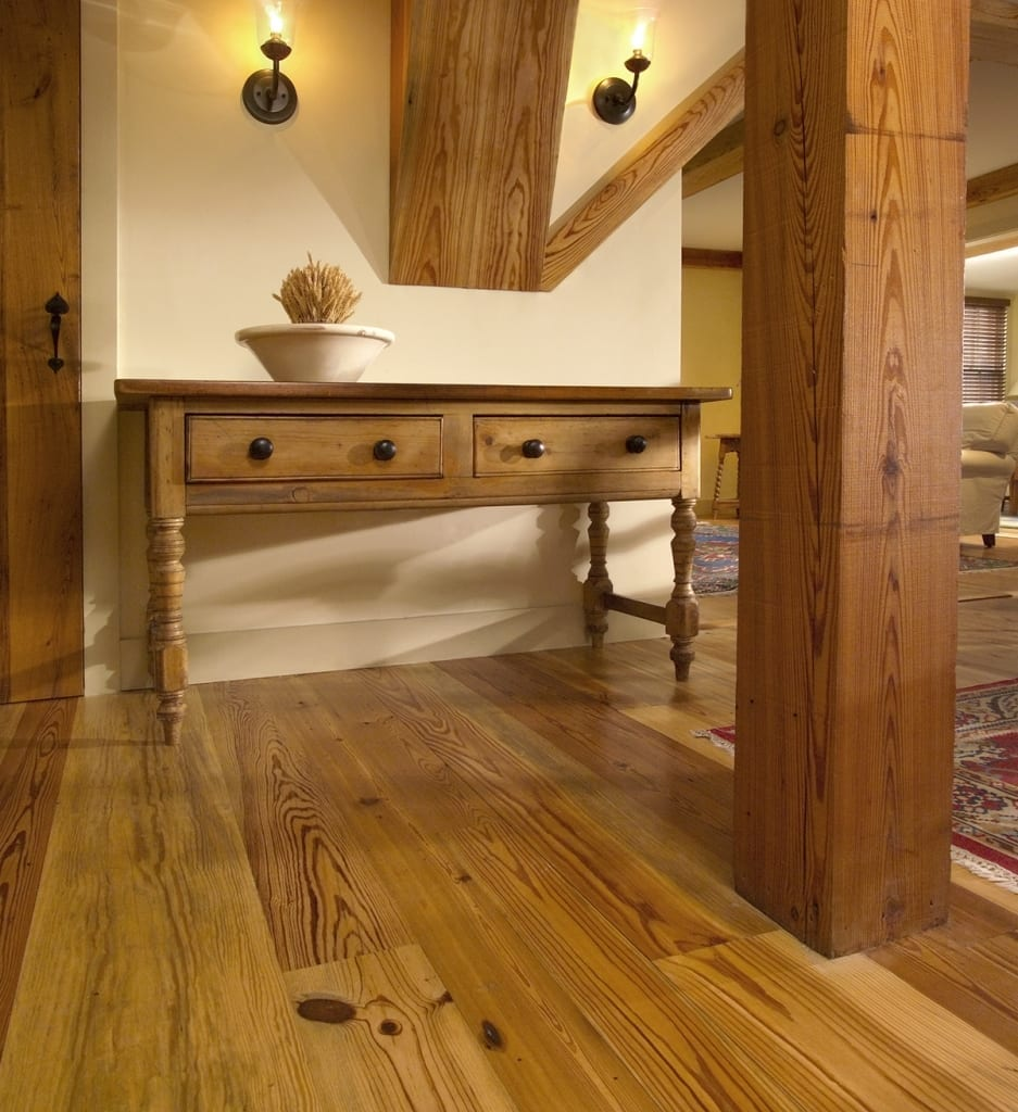 reclaimed heart pine in entry way