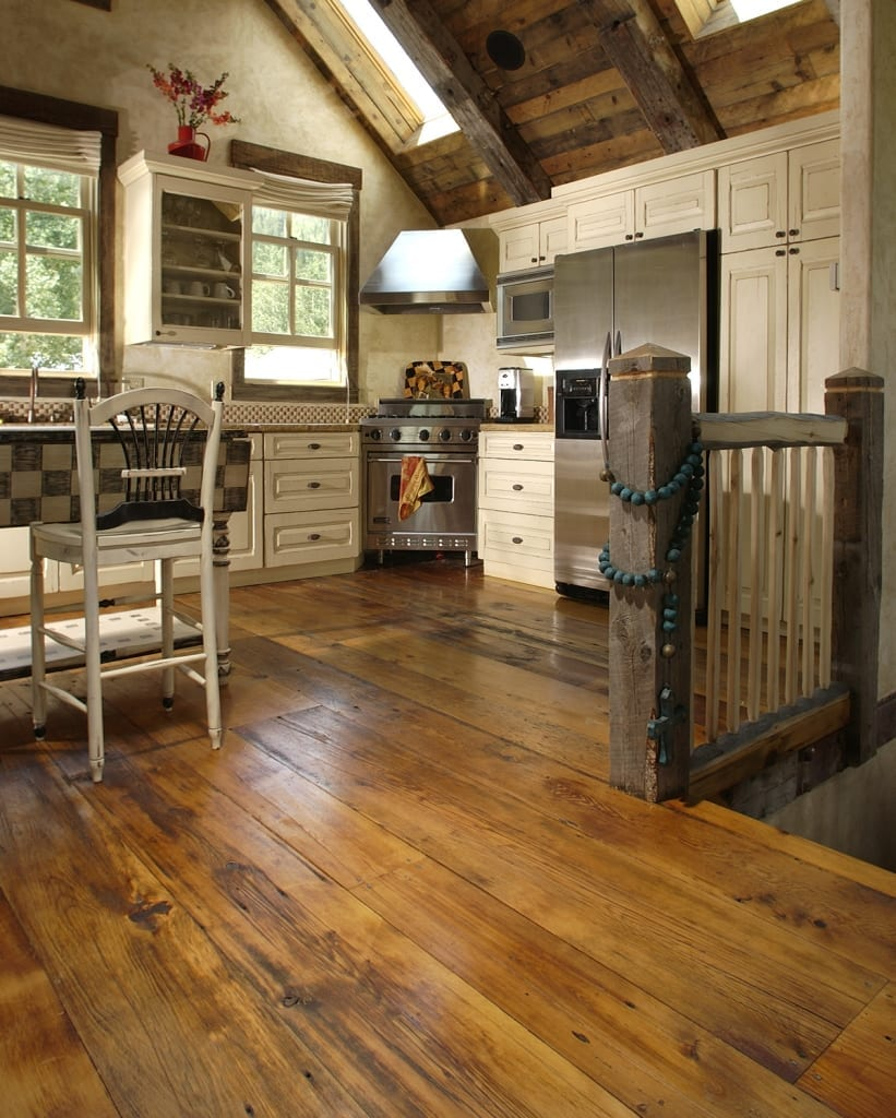milled barn wood flooring in kitchen