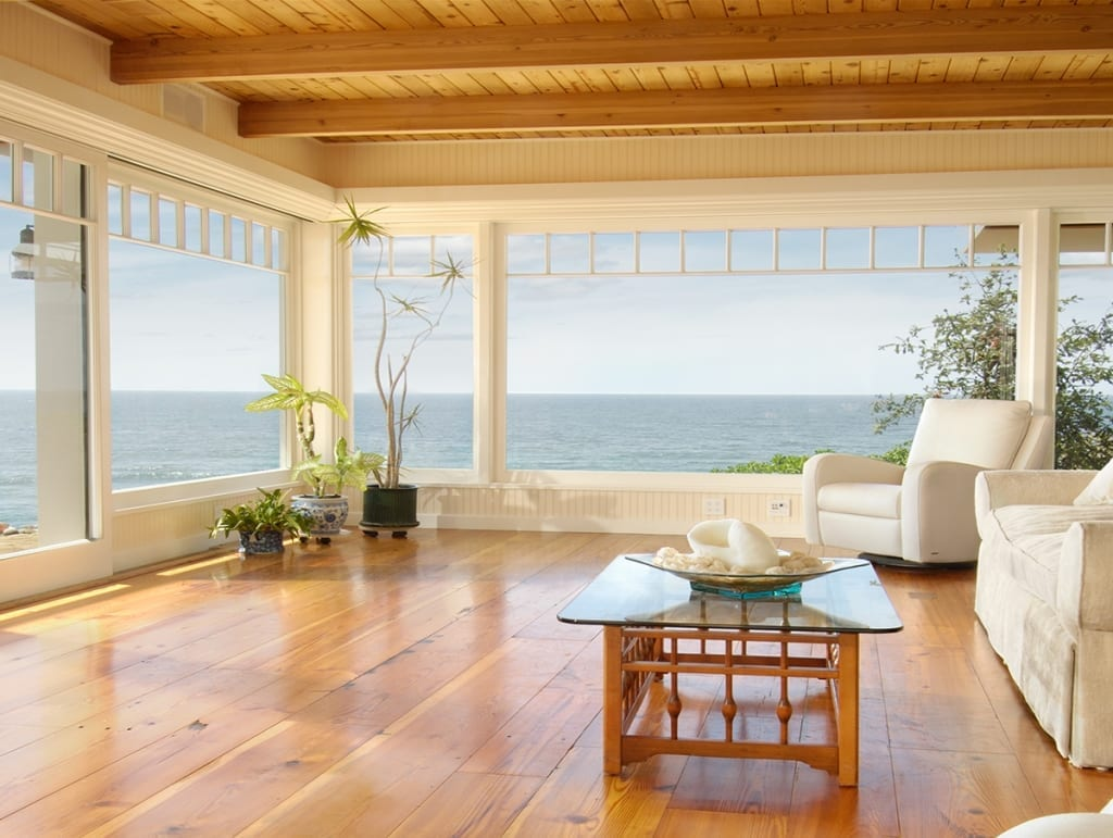 reclaimed heart pine flooring in beach house