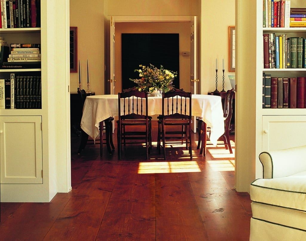 eastern white pine floor in dining room